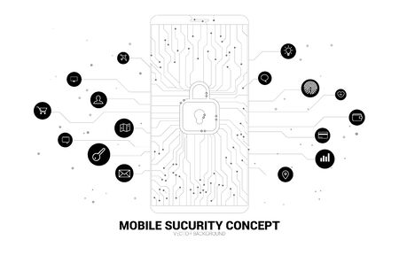 vector lock pad icon in mobile from dot and line circuit board style. background concept for mobile security and privacy access.