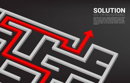 Arrow with route path to exit the maze. Business concept for problem solving and solution strategy Stock Illustratie