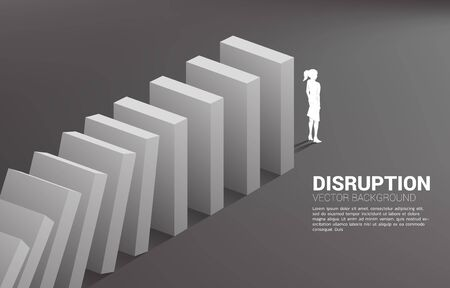 Silhouette of businesswoman standing at the end of domino collapse. Concept of business industry disrupt Illustration