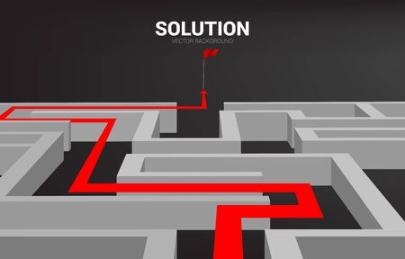 Arrow with route path to exit the maze. Business concept for problem solving and solution strategy Çizim