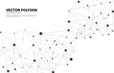 Network Connecting dot polygon background. Concept of Network Business, technology, Data and chemical. Dot connect line abstract background represent futuristic network and data transformation Stock Illustratie