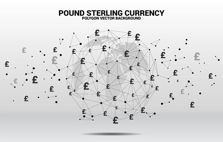 World Globe with money pound sterling currency icon polygon dot connected line. Concept for financial network connection in British. Illusztráció