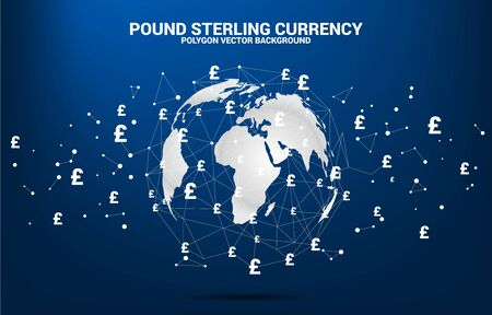 World Globe with money pound sterling currency icon polygon dot connected line. Concept for financial network connection in British. Zdjęcie Seryjne - 130778610