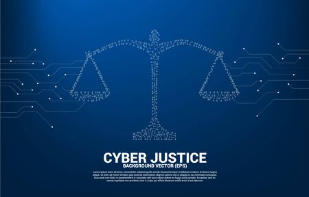 Justice scale with dot and line connection circuit board style. Background Concept of cyber social judgment Çizim