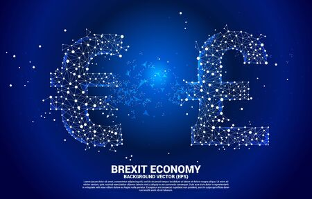 Vector money euro currency icon transform from Pound sterling . Concept for brexit europe and British financial