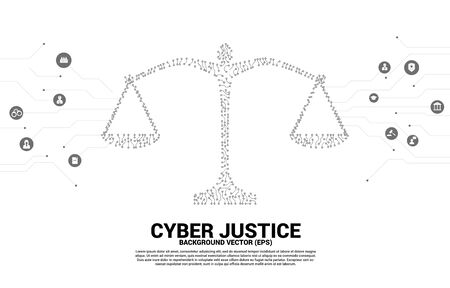 Justice scale with dot and line connection circuit board style. Background Concept of cyber social judgment Stock Illustratie