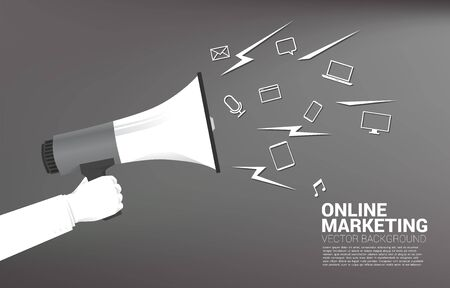 Silhouette businessman hold megaphone with mobile and media icon. Concept for announcement and digital marketing.