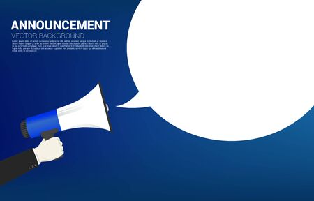 Silhouette businessman hold megaphone with talk bubble. Poster for announcement and communication template.