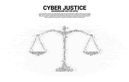 Justice scale from one and zero binary code digit style. Background Concept of cyber social judgment Stock Illustratie
