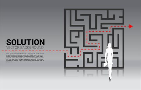 Silhouette of Businesswoman standing with plan to exit from maze . Business concept for problem solving and solution strategy Stock Illustratie