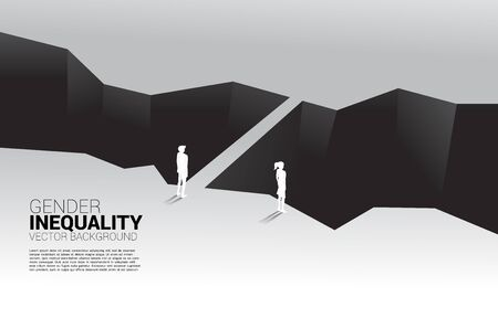 Businessman and business woman in front of valley and the man with the bridge. Concept of gender inequity in business and obstacle in woman career path