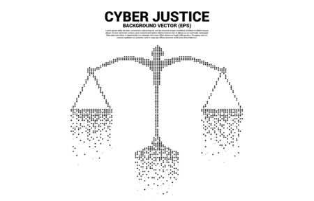 Justice scale from square pixel digital style. Background Concept of cyber social judgment