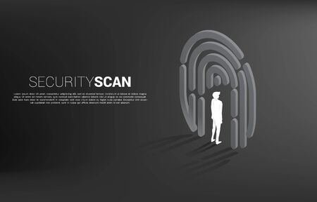Businessman standing in finger scan icon. Background concept for security and privacy technology for identity data Foto de archivo - 130778676