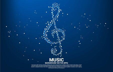 Note clé de musique sol vectoriel de la ligne de connexion dot. Contexte conceptuel pour le thème de la chanson et du concert. Vecteurs