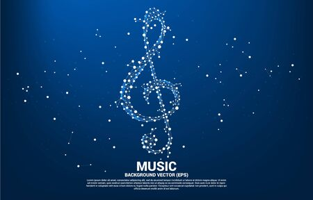 Vector sol nota clave de la música de la línea de conexión de puntos. Antecedentes del concepto de tema de canción y concierto. Ilustración de vector