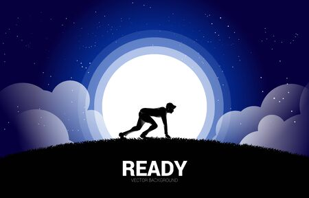Silhouette of businessman ready to run in the moon and star. Concept of business mission vision and goal.