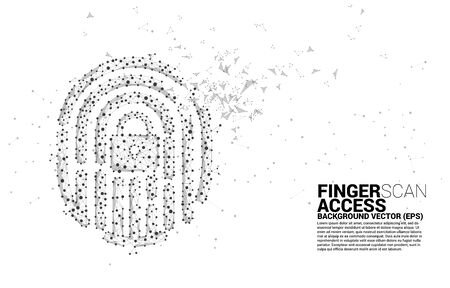 vector thumbprint icon from dot connect line polygon. background concept for finger scan technology and privacy access.