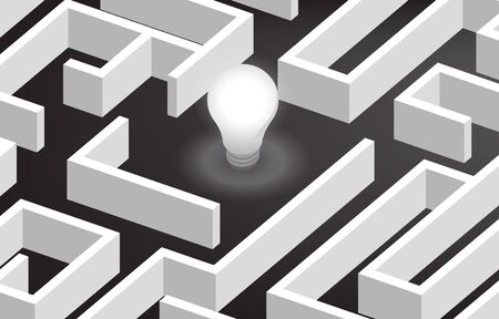 Glowing light bulb at center of maze . Concept for problem solving,solution strategy and idea.