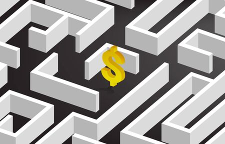Golden 3D Dollar currency at center of maze. Concept for business mission and way to company profit