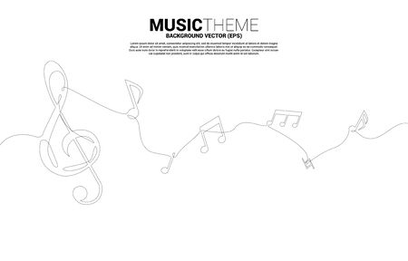 Vector music melody note dancing flow from single line . Concept background for song and concert theme.