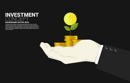 Small money tree at top of stack coin dollar in businessman hand. Concept of success investment and growth in business Illusztráció
