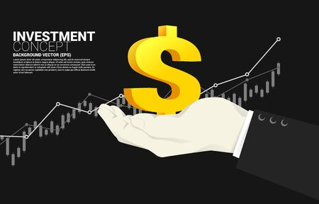 Small money icon in businessman hand with growing graph background. Concept of success investment and growth in business