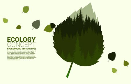 Forrest hill in leaf silhouette big leaf shape. Concept for take care Ecology and Environmental theme Illustration