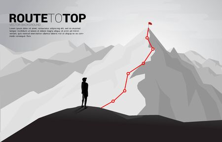 Businessman and Route to the top of mountain : Concept of Goal, Mission, Vision, Career path, Vector concept Polygon dot connect line style