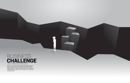 silhouette of businesswoman standing at valley. concept of business challenge and courage man