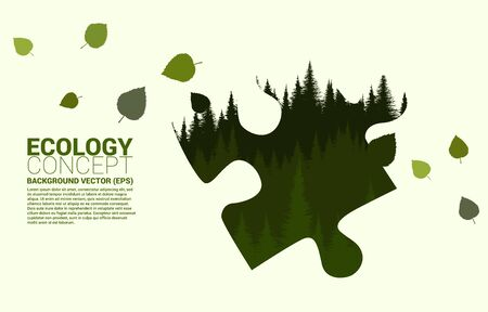 Forrest hill in leaf silhouette big jigsaw shape. Concept for take care Ecology and Environmental solution theme