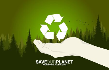 Recycle icon in human hand with green forest background. background for take care and save the environment. Illusztráció