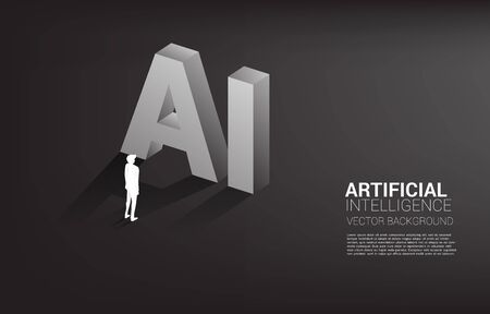 Silhouette of businessman standing with AI text 3D. Business concept for machine learning and a.i artificial intelligence Ilustração