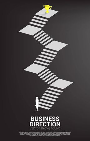 silhouette of businessman ready to step to golden trophy at top of stair. Concept of vision mission and goal of business