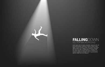 silhouette of businessman falling down in the light. Concept for fail and accidental business 일러스트