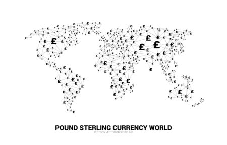 World Globe with money pound sterling currency icon polygon dot connected line. Concept for financial network connection in british. Ilustração