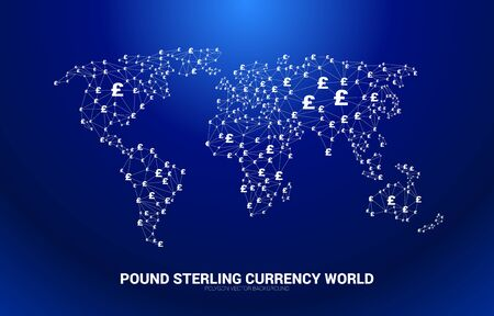 World Globe with money pound sterling currency icon polygon dot connected line. Concept for financial network connection in british.  イラスト・ベクター素材