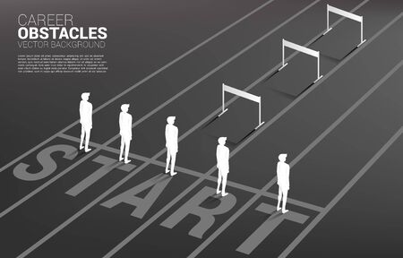 Silhouette one of businessman standing with hurdles obstacle . Concept of career obstacles and inequality