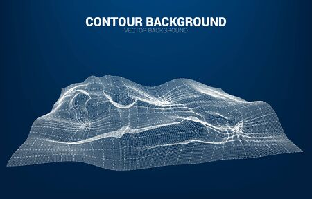 Digital Contour curve line and wave with wireframe . Abstract Background for 3D Futuristic technology concept  イラスト・ベクター素材