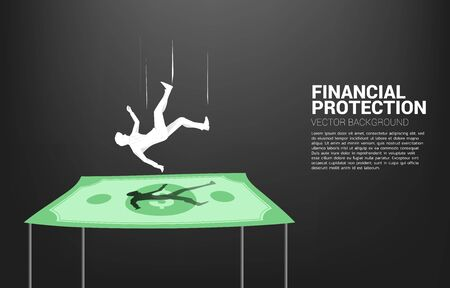 Silhouette of businessman falling down on dollar banknote. Concept for Insurance and financial protection