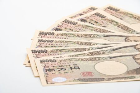 Close up japanese currency yen money banknote. Background concept for japan economy.