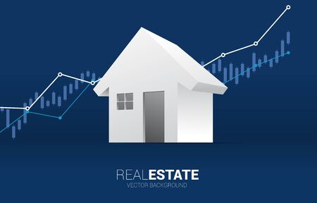 3D home icon with Growth graph background. Concept of success investment and growth in real estate business