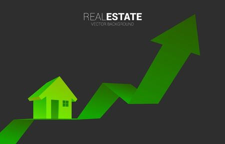 Green 3D home icon on with Growing graph. Concept of success investment and growth in real estate business