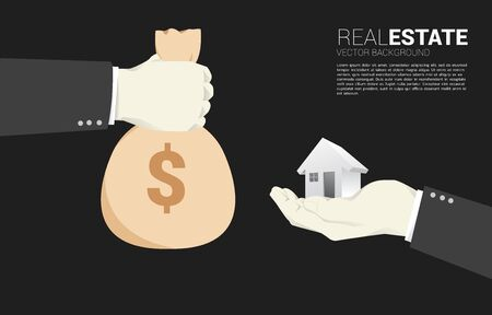 Hand with money bag for hand with 3D home icon. Concept transaction in real estate business