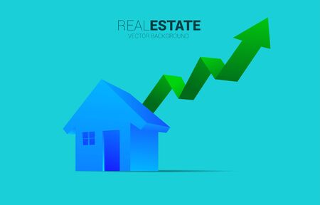3D home icon with Growing graph. Concept of success investment and growth in real estate business