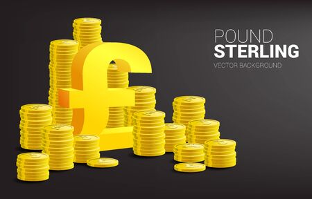 3D Pound sterling currency icon with coin stack. Concept for Britain business investment and accounting