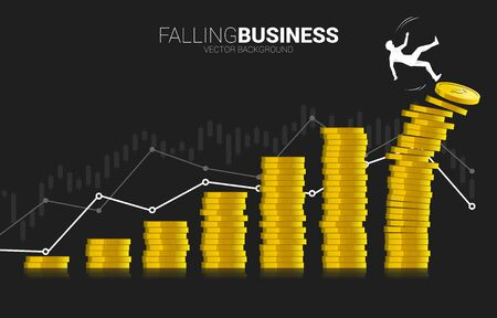 Silhouette des Geschäftsmannes, der vom Stapel der Geldmünze herunterfällt. Konzept des Rückgangs des Geschäftswerts und des Umsatzes. Vektorgrafik