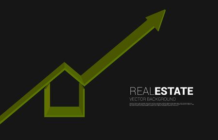 Green 3D home icon with Growing graph. Concept of success investment and growth in real estate business