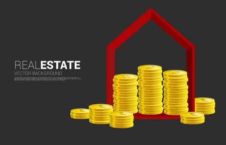 Golden money coin in red home shape frame. Concept of success investment and growth in real estate business
