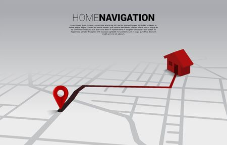 Route between 3D location pin markers and home icon on city road map. Concept for GPS navigation system infographic.