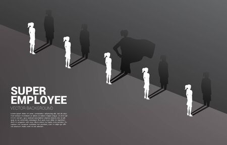 One of Silhouette of businesswomen with her shadow of super human on wall.concept of empower potential and human resource management Illustration